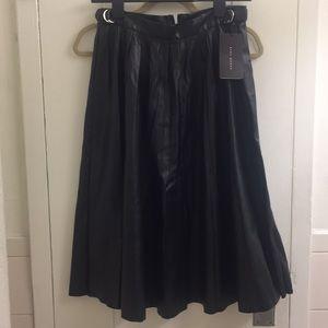 zara pleated leather midi skirt